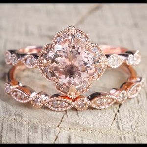 Rose Gold and Morganite with AAA cz accents set